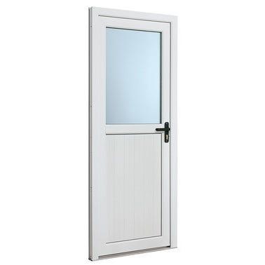 Porte de service PVC demi vitrée poussant droit H.200 x l.80 cm