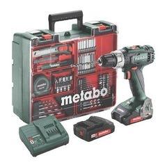 Perceuse visseuse sans fil 18V METABO 2 batteries 2Ah + 74 accessoires BS18L coffret 602321870