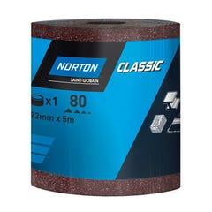 Papier abrasif 93mm x 50 mètres Grain 120 Rouleau NORTON pour ponçage finition bois platre et enduits