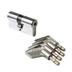 Cylindre nickelé haute sûreté à bouton 30 x 30 mm 5 clés