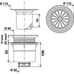 Bonde de douche à grille marguerite avec sortie verticale pour receveur Ø 90 mm