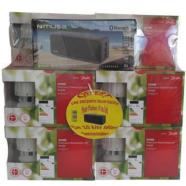 Lot de 10 kits robinets thermostatiques équerres RA2990 DANFOSS + enceinte bluetooth offerte