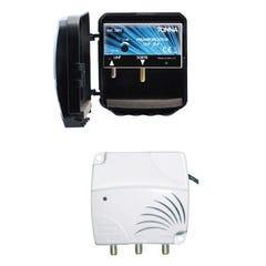 KIT AMPLIFICATEUR UHF REGLABLE 35 dB 4G  + ALIMENTATION 2 SORTIES TV
