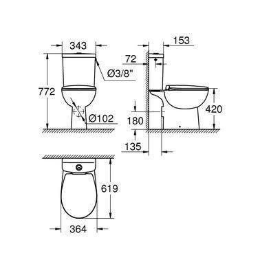 Pack WC à poser sortie horizontale Bau Ceramic - 39495000 GROHE