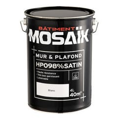 Peinture Acrylique murs et plafonds MOSAIK HPO Satin blanc 4L
