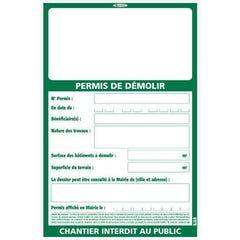PANNEAU PERMIS DE DÉMOLIR TALIAPLAST