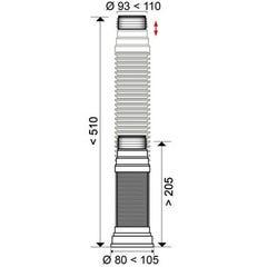 Pipe WC extensible à lèvres Ø93/100/110 Wirquin Pro