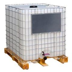 Cuve grillagée IBC sur palette bois aérienne pour récupération d'eaux de pluie de 1000 L