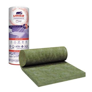 Rouleaux laine de verre nue TH40 R = 2,5 L.800 x l.120 cm Ep.100 mm - URSA
