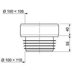 Sortie de cuvette droite Ø1 00 À 105 mm