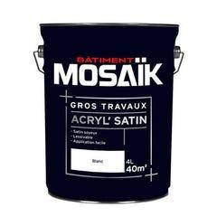 Peinture Acrylique murs et plafonds MOSAIK Gros travaux Satin blanc 4L