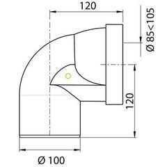 Pipe WC courte coudée mâle Ø85/105 Wirquin Pro