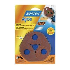3 Disques abrasif Fibre AVOS  Grain 50 NORTON décapage métal bois pour plateau meuleuse AVOS Ø115mm