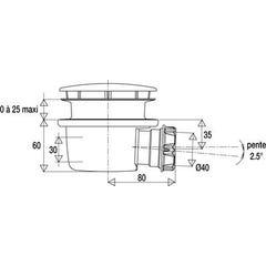 Bonde de douche extra-plate Minime hauteur 60 mm pour receveur Ø 90 mm VALENTIN