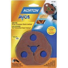 3 Disques abrasif Fibre AVOS  Grain 120 NORTON ponçage finitin métal bois pour plateau meuleuse AVOS Ø115mm