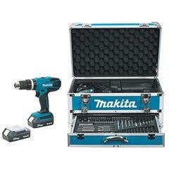 Perceuse visseuse à percussion sans fil 18V coffret + accessoires + 2 batteries empreinte spéciale HP457DWEX4 -MAKITA