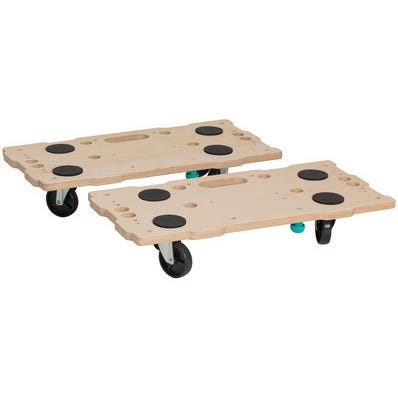 2 SUPPORTS ROULANTS CONNECTABLES 29X59CM 400KG