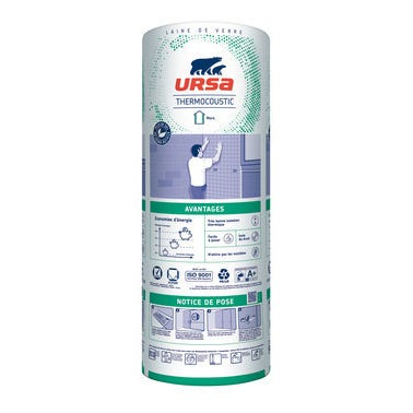 Panneau roulé laine de verre Kraft TH32 R = 3,75 L.270 x l.120 cm Ep.120 mm, surface 3,24 m² - URSA