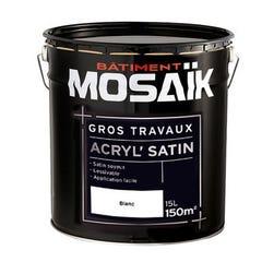 Peinture Acrylique murs et plafonds MOSAIK Gros travaux Satin blanc 15L