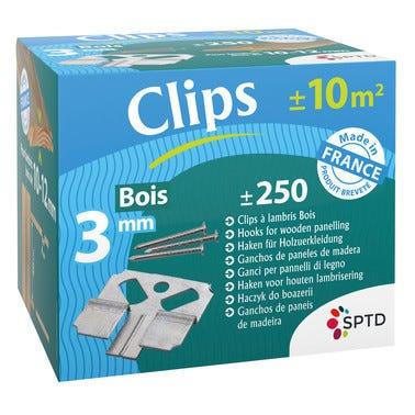 Boîte de 250 clips à lambris + pointes pour pose lambris bois de 10 à 12 mm